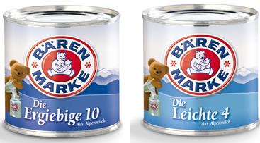 Kondensmilch Dosenmilch Bärenmarke 6/340g
