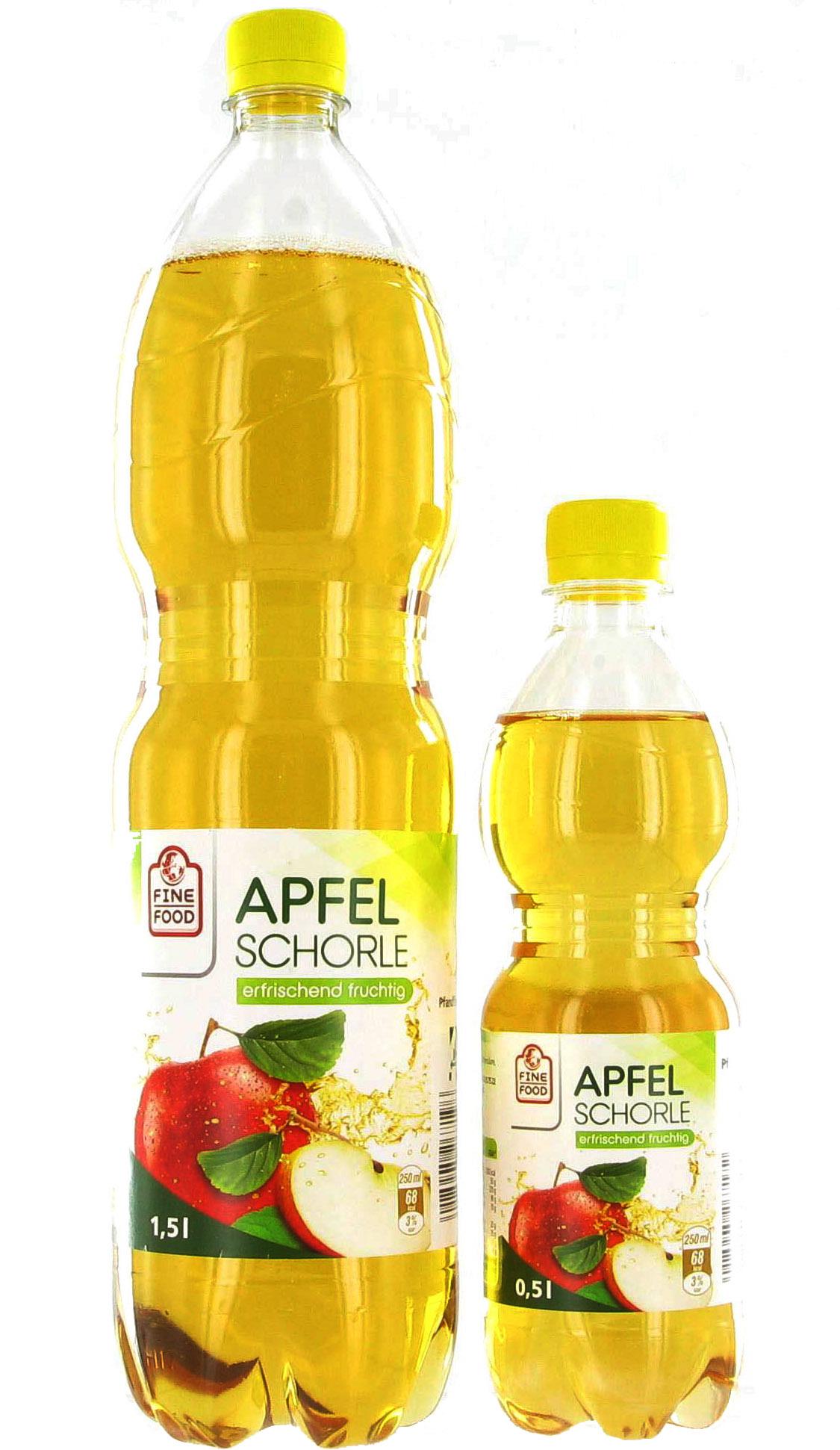 Apfelschorle Gut und Günstig Fine Food Quelly 0,5 und 1,5